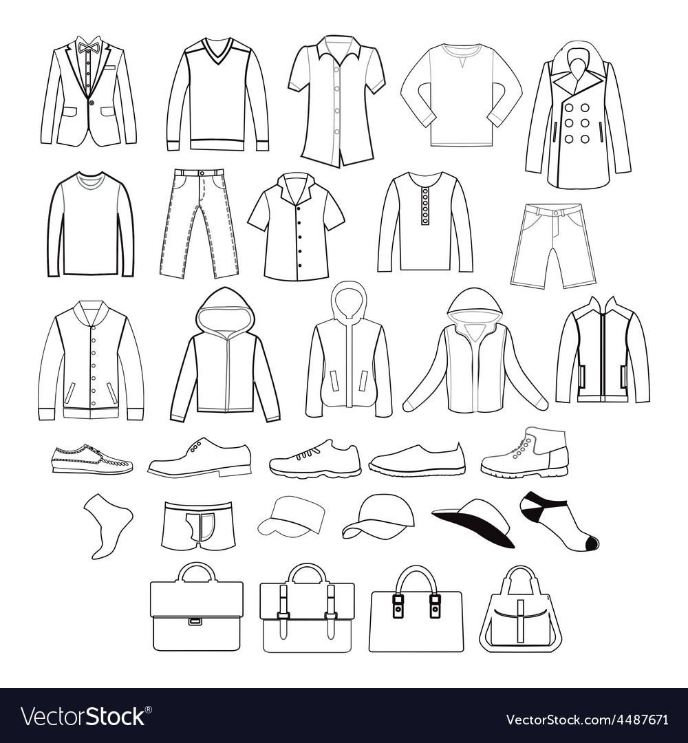 Fashion casual collection set of fashion man vector | Price: 1 Credit (USD $1)