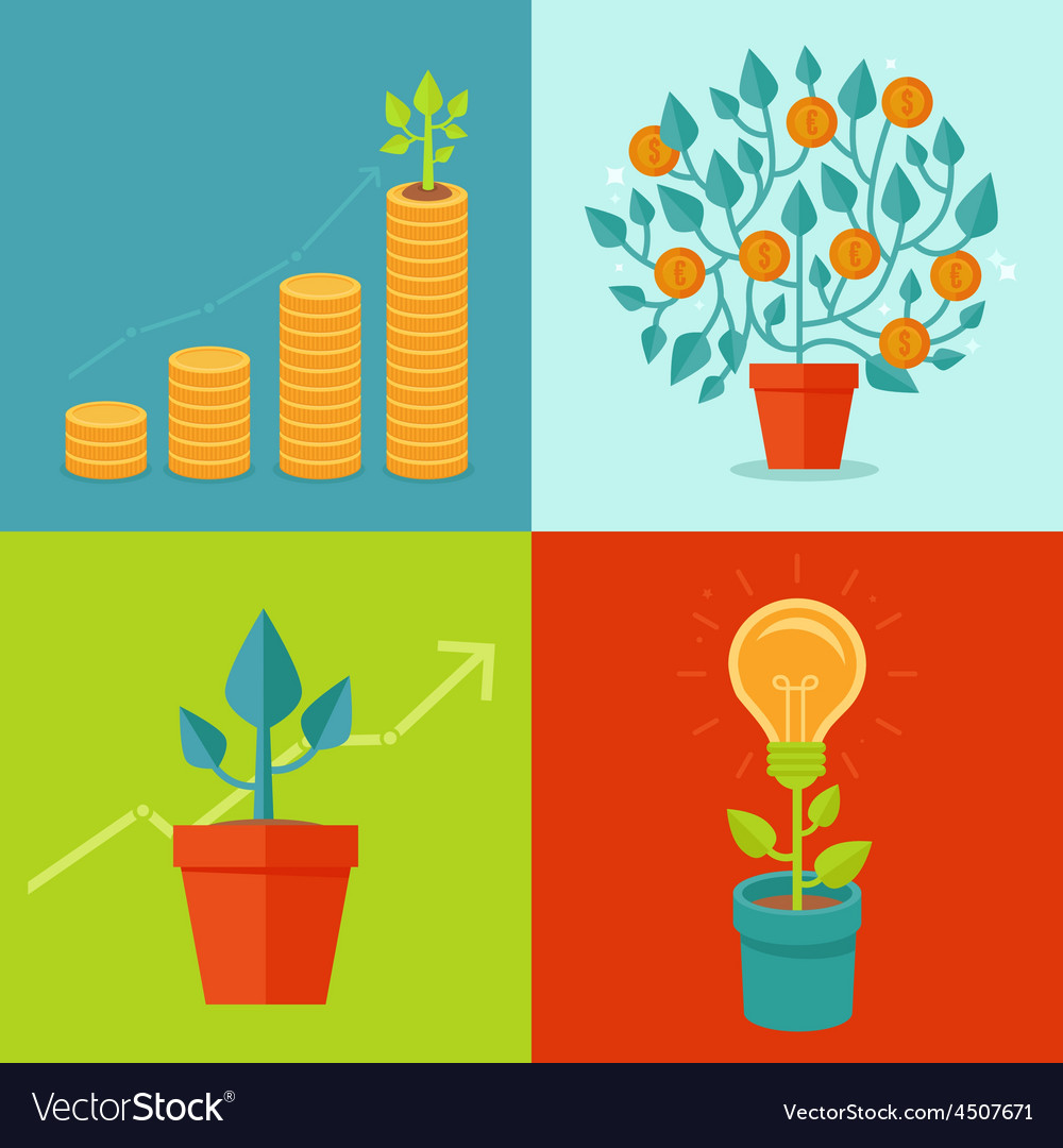 Growth concepts in flat style vector | Price: 1 Credit (USD $1)