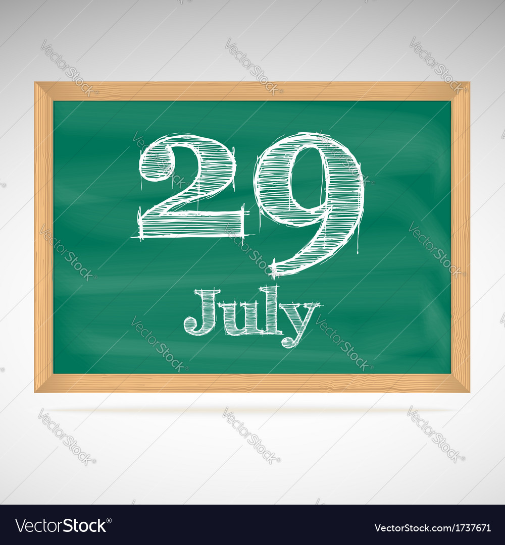 July 29 day calendar school board date vector | Price: 1 Credit (USD $1)