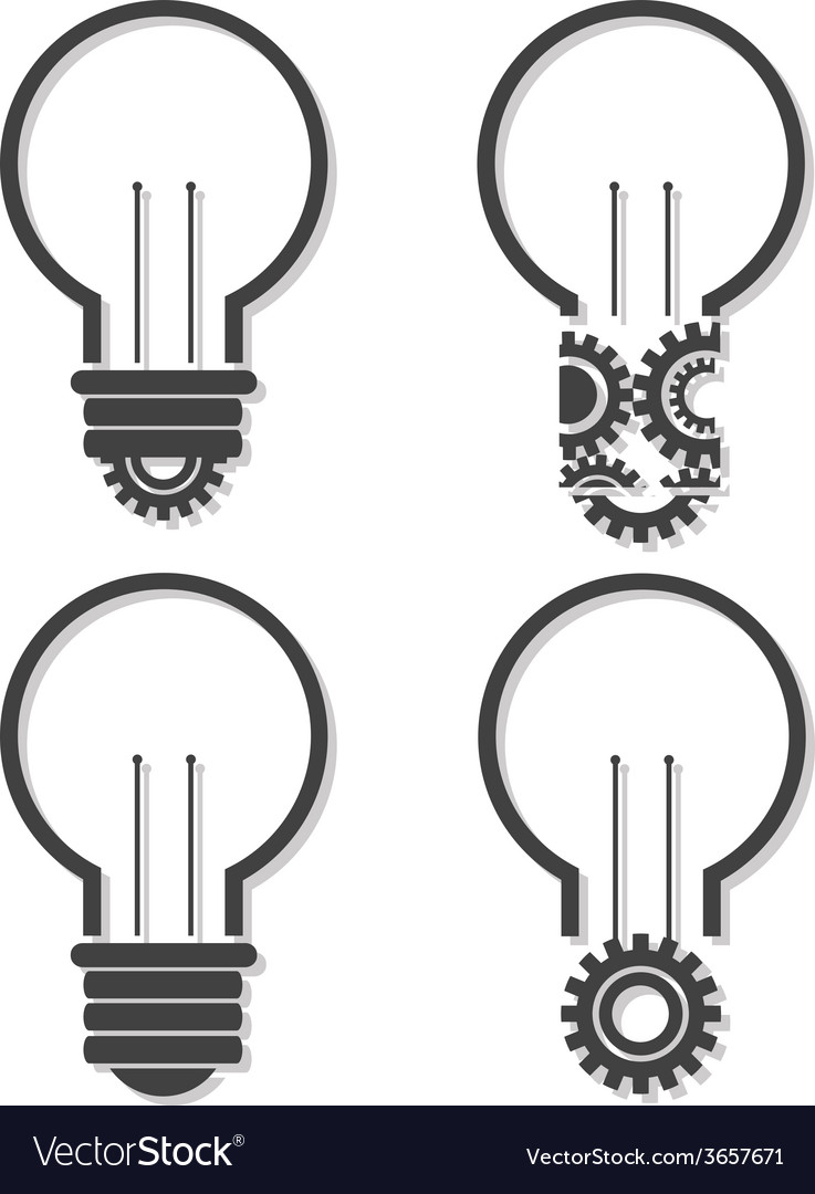 Light bulb with lightning in form of gear and idea vector | Price: 1 Credit (USD $1)