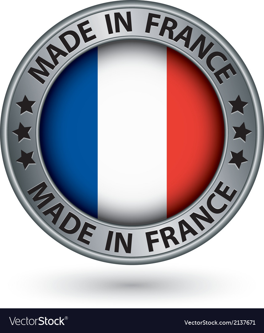 Made in france silver label with flag vector | Price: 1 Credit (USD $1)