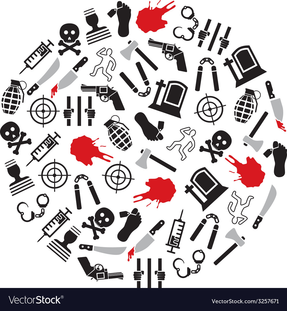 Murder icons in circle vector | Price: 1 Credit (USD $1)