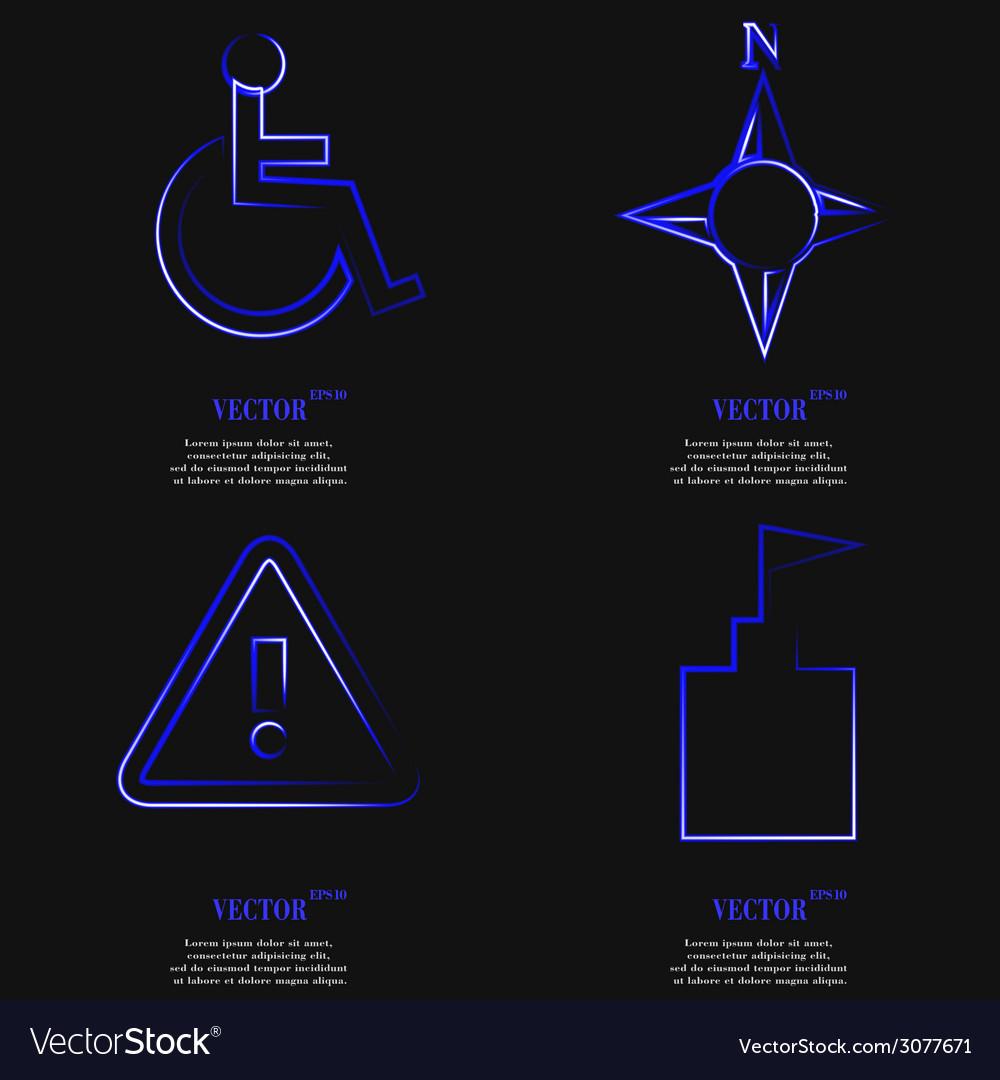 Set of blue web icon flat design simple sticker vector | Price: 1 Credit (USD $1)