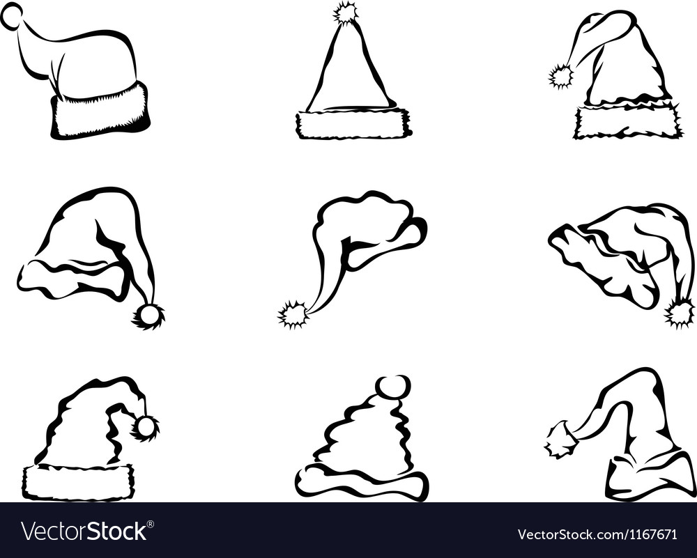Simple outline of christmas hat vector   Price: 1 Credit (USD $1)