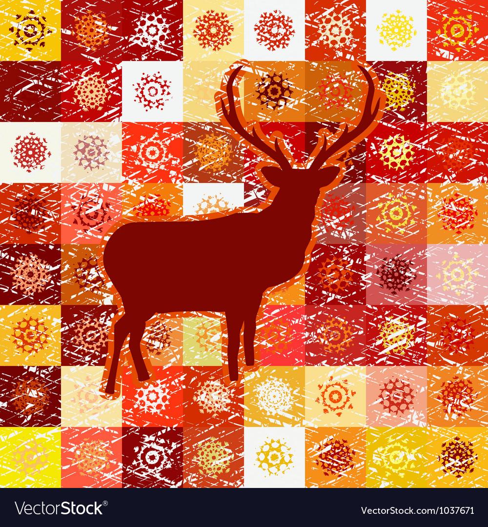 Vintage christmas deer pattern vector | Price: 1 Credit (USD $1)