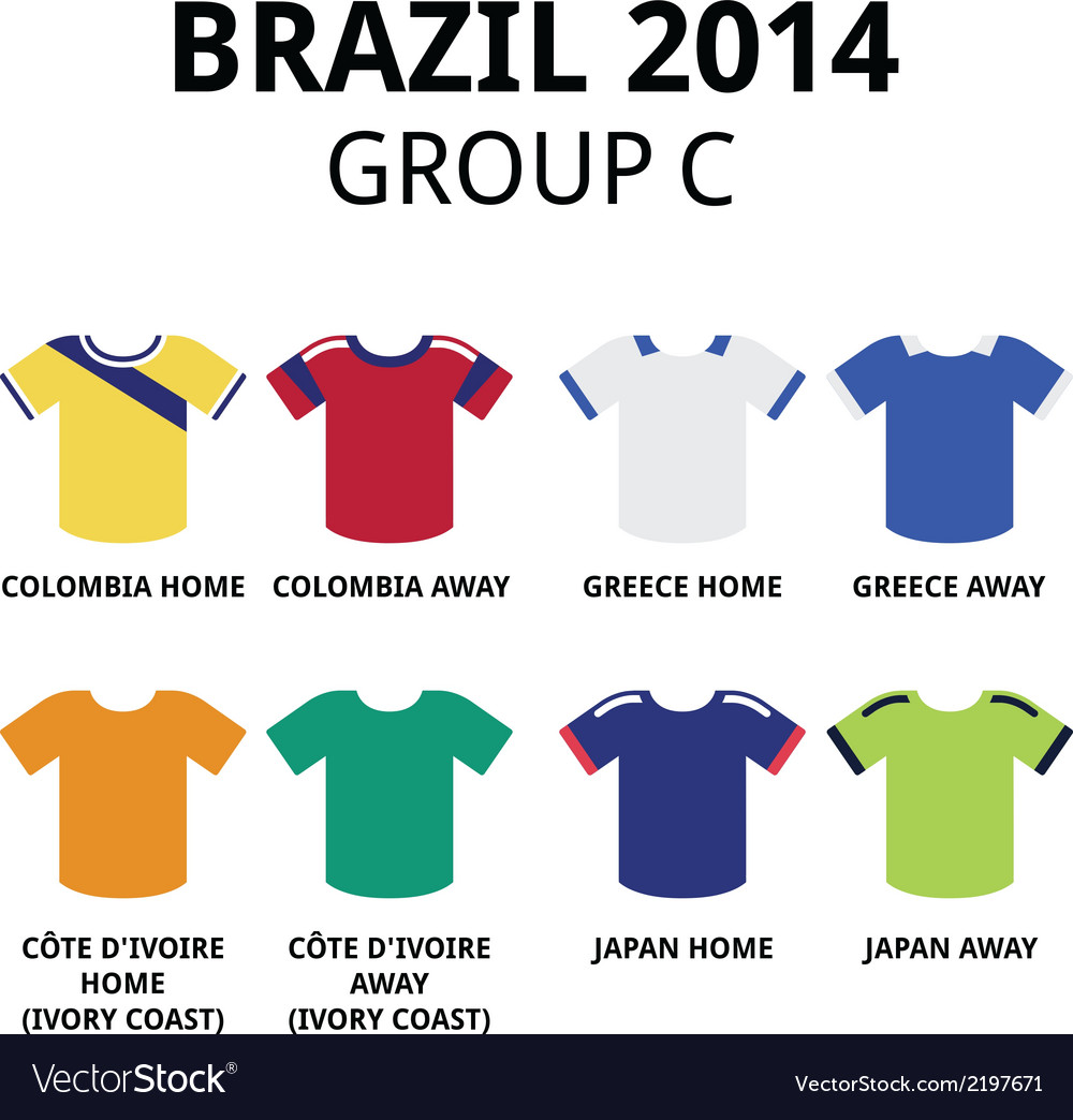 World cup brazil 2014 - group c football jerseys vector | Price: 1 Credit (USD $1)