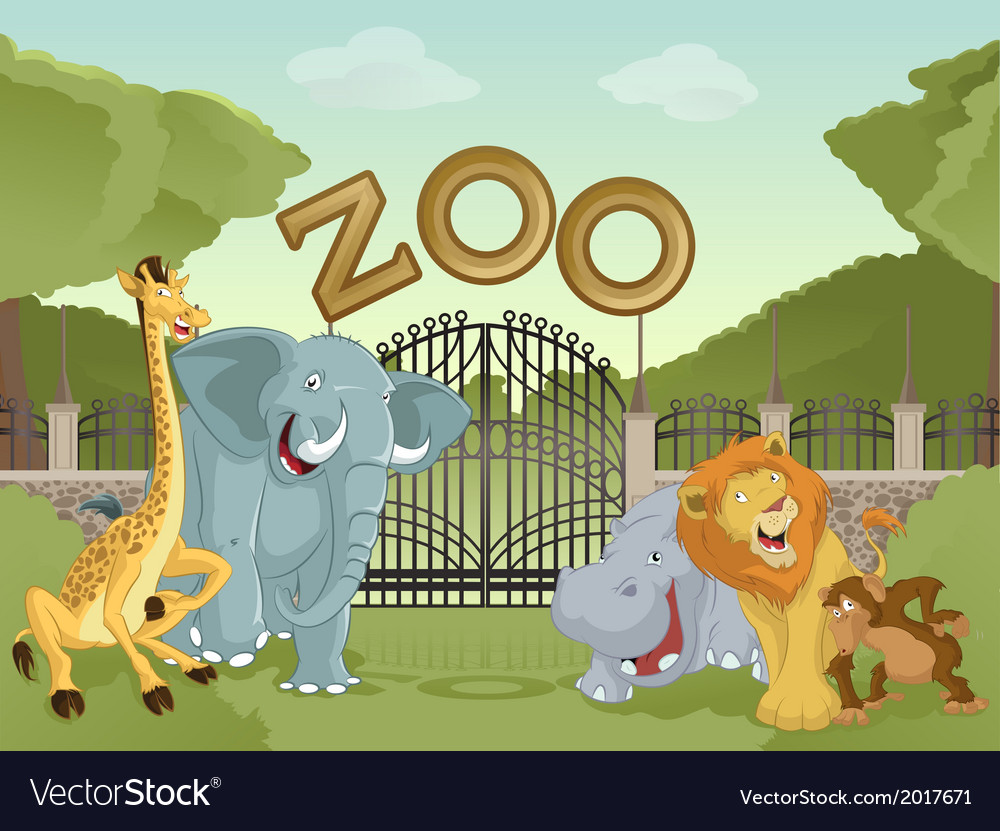 Zoo with african animals vector | Price: 3 Credit (USD $3)