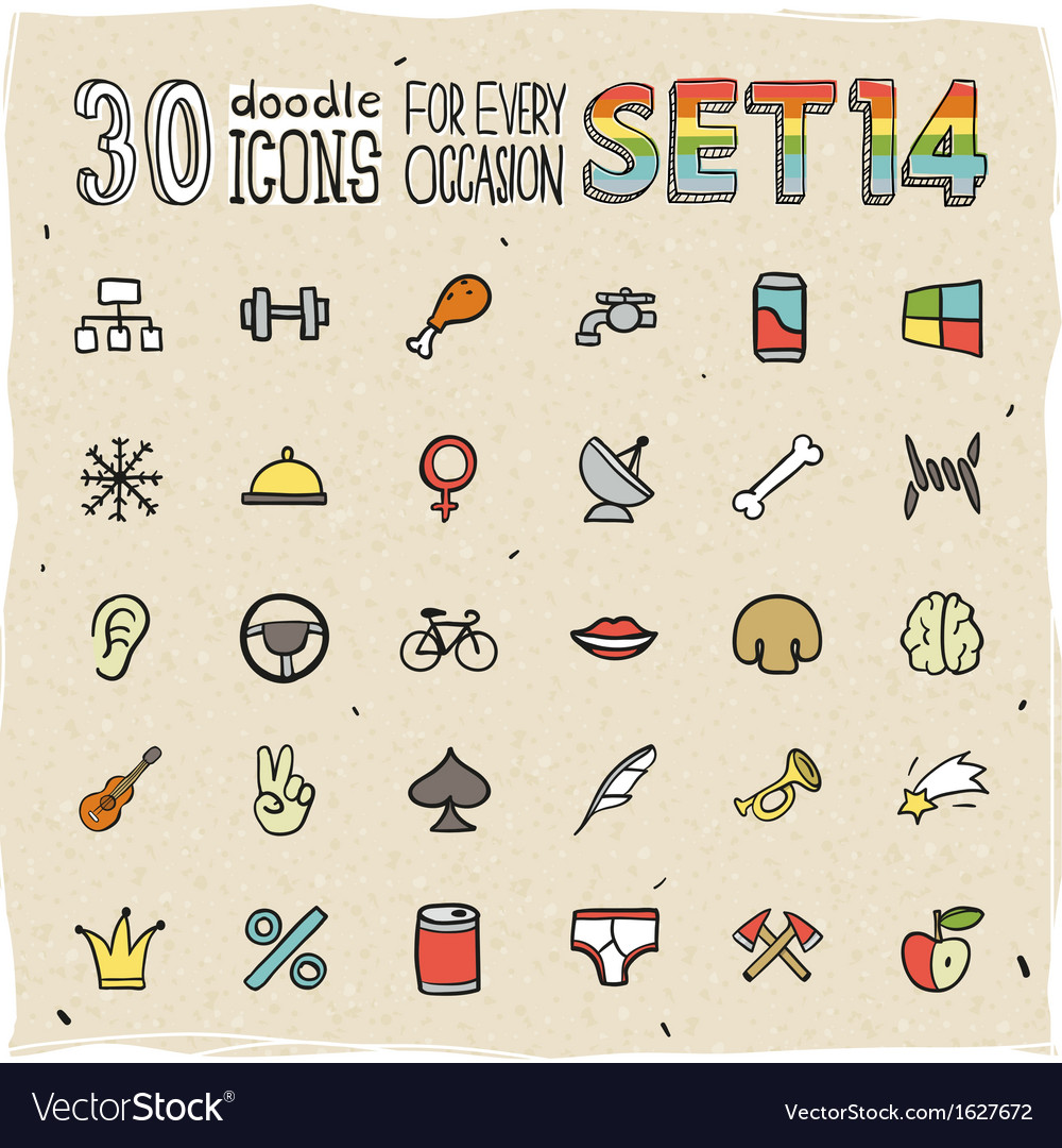30 colorful doodle icons set 14 vector | Price: 1 Credit (USD $1)