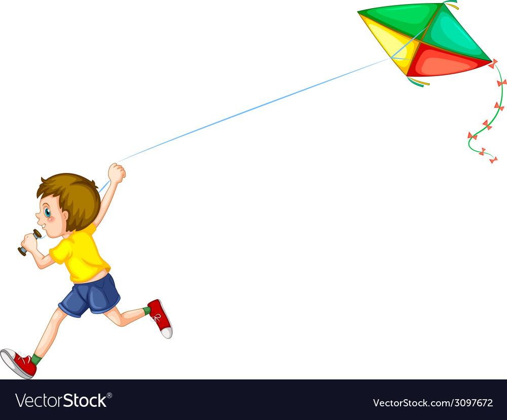 Boy and kite vector | Price: 1 Credit (USD $1)