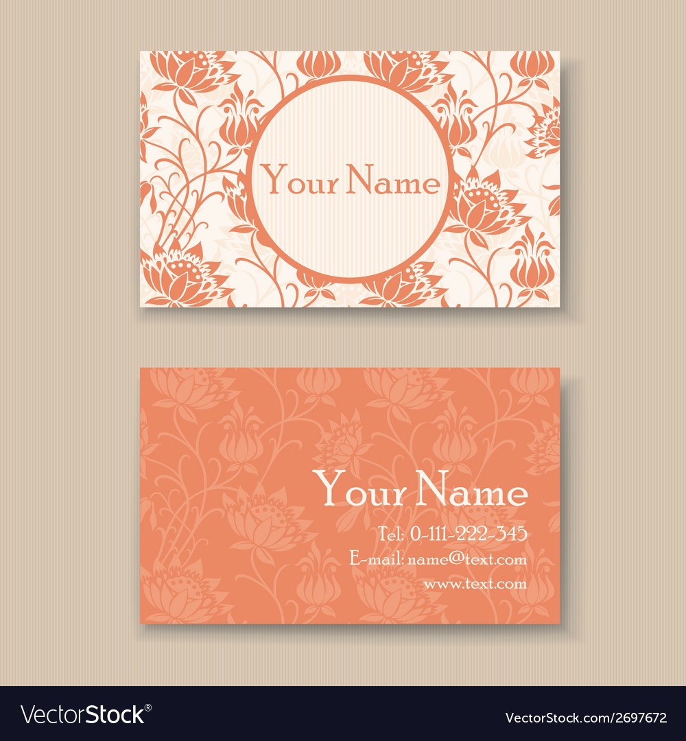 Business card floral orange vector | Price: 1 Credit (USD $1)