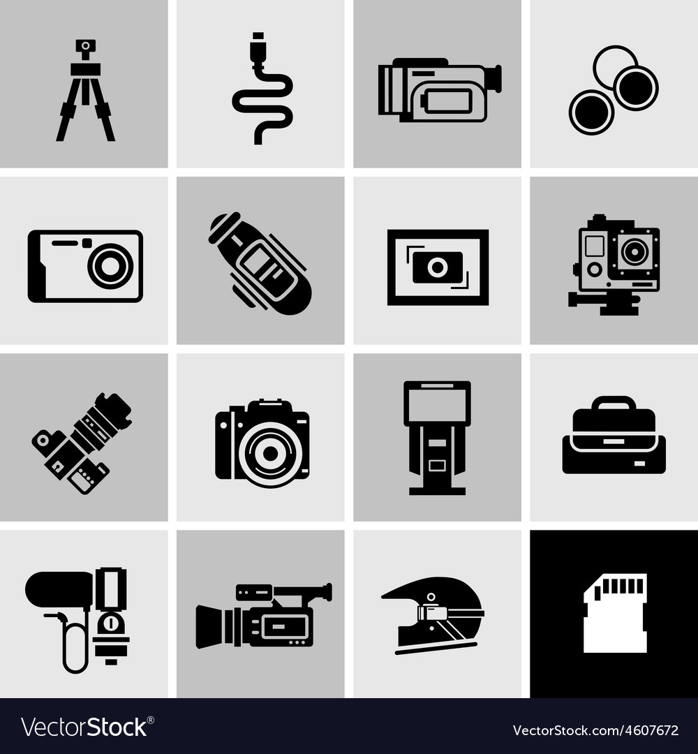 Camera icons black vector | Price: 1 Credit (USD $1)
