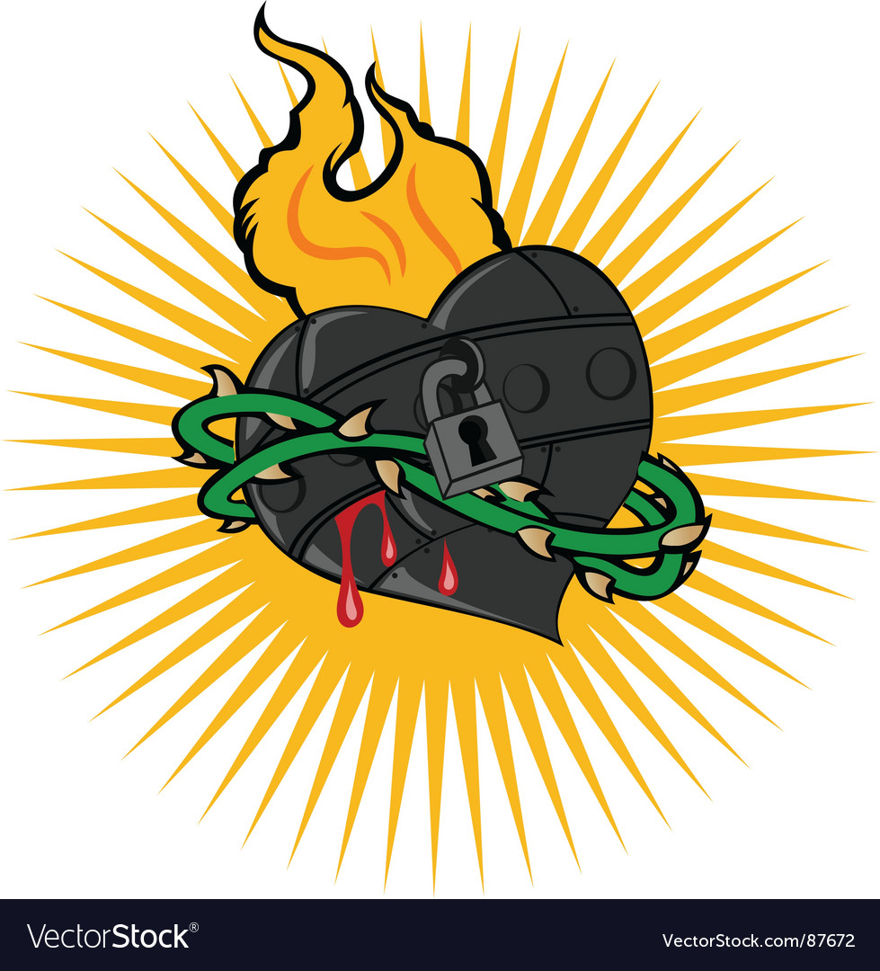 Fire iron heart vector | Price: 1 Credit (USD $1)