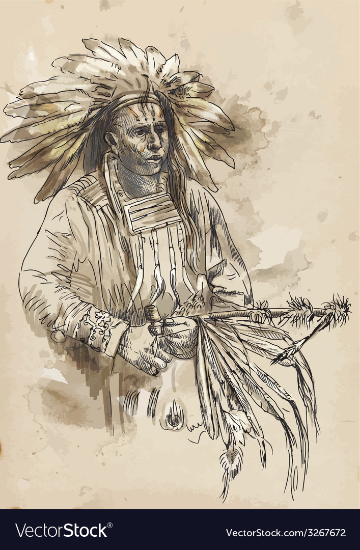 Indian chief holding a peace pipe vector | Price: 1 Credit (USD $1)