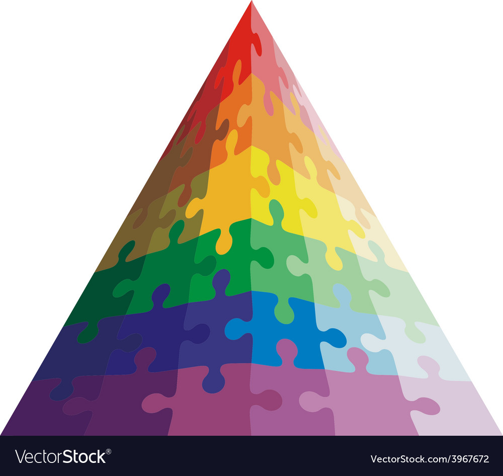 Jigsaw puzzle shape of a triangle colors vector | Price: 1 Credit (USD $1)