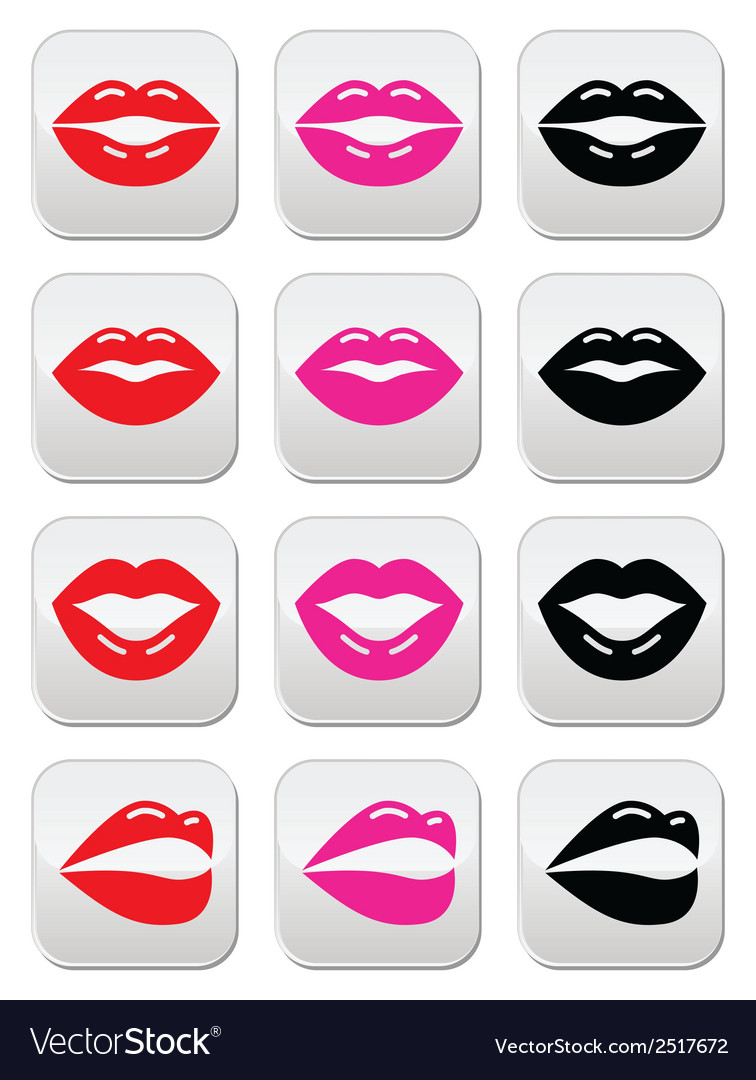 Lips kiss red pink and black glossy buttons vector | Price: 1 Credit (USD $1)