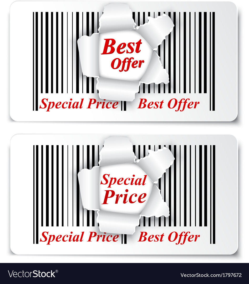 Sale design on torn barcode vector | Price: 1 Credit (USD $1)