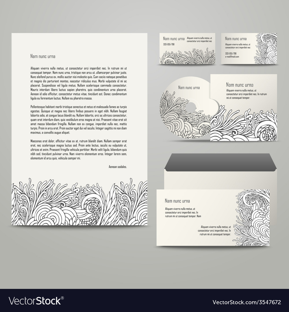 Template with grey floral pattern vector | Price: 1 Credit (USD $1)