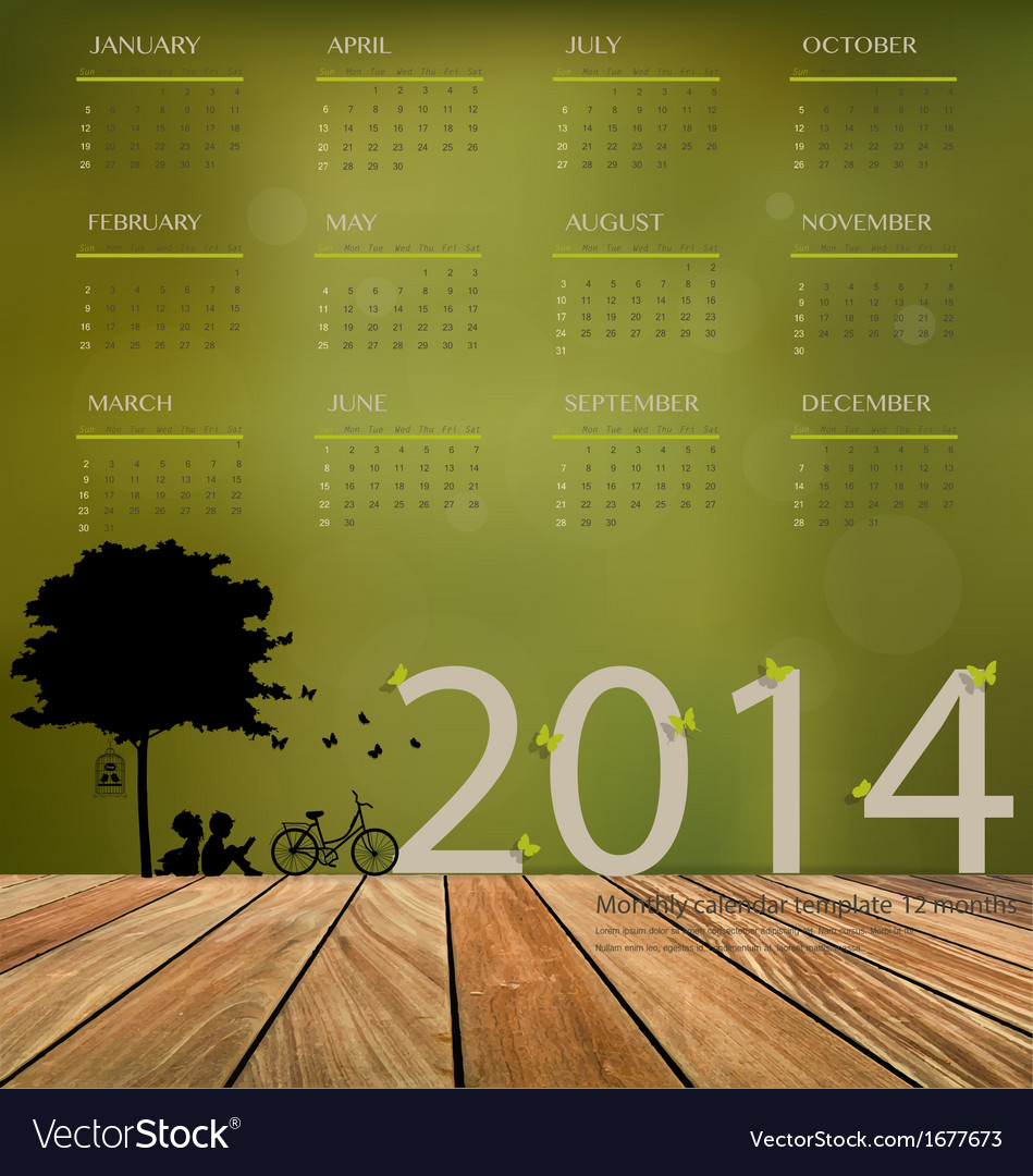 2014 calendar tree design vector | Price: 1 Credit (USD $1)