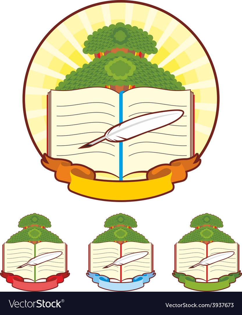 Book tree emblem vector | Price: 1 Credit (USD $1)