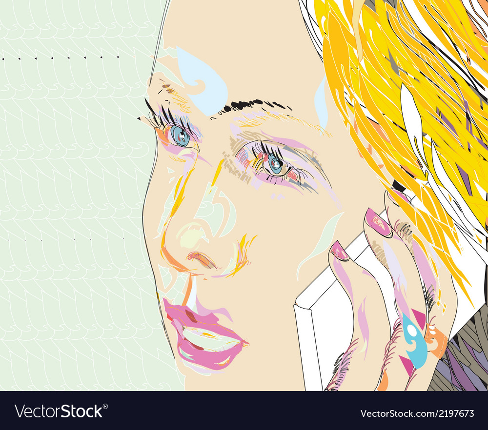 Girl on the phone vector | Price: 1 Credit (USD $1)