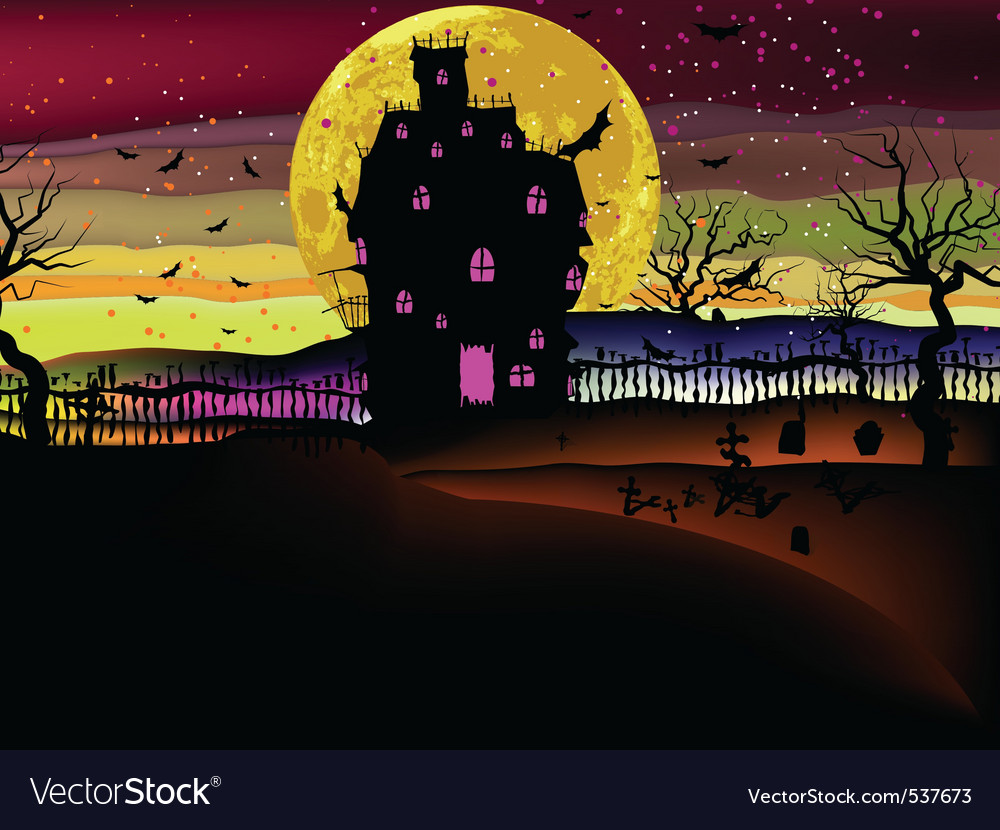 Grungy halloween with haunted house eps 8 vector | Price: 1 Credit (USD $1)