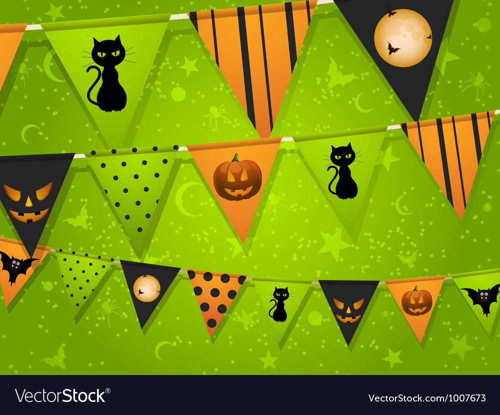 Halloween bunting on green background vector | Price: 1 Credit (USD $1)
