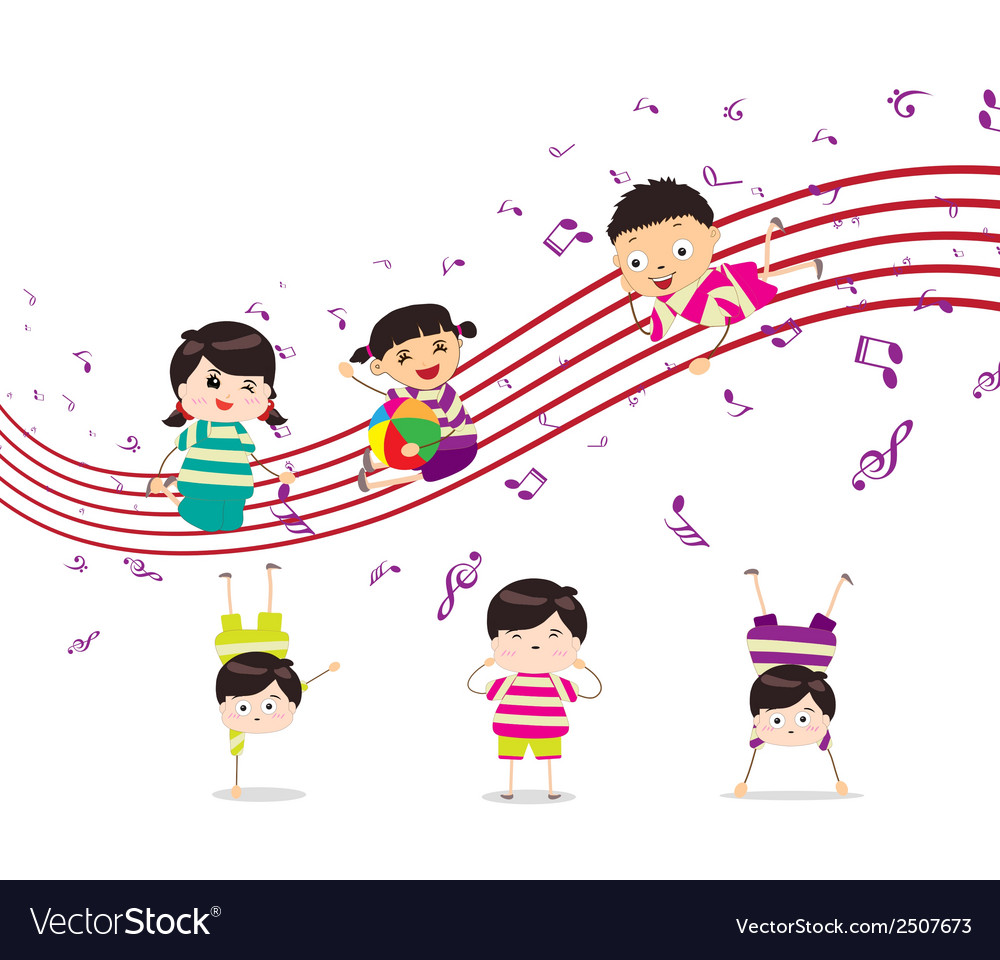 Kids enjoying playing music vector | Price: 1 Credit (USD $1)