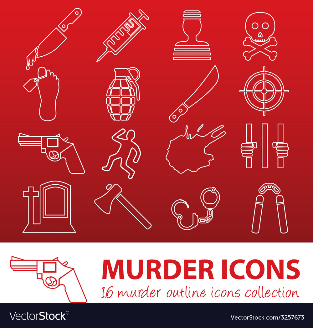 Murder outline icons vector | Price: 1 Credit (USD $1)