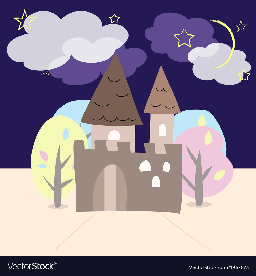 Night castle with trees vector | Price: 1 Credit (USD $1)