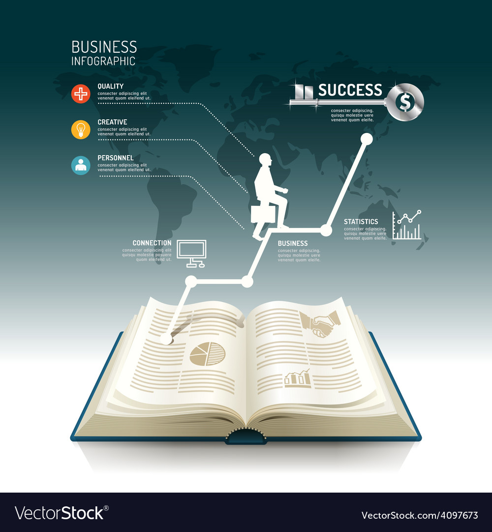 Open book infographic business step paper graph vector | Price: 3 Credit (USD $3)