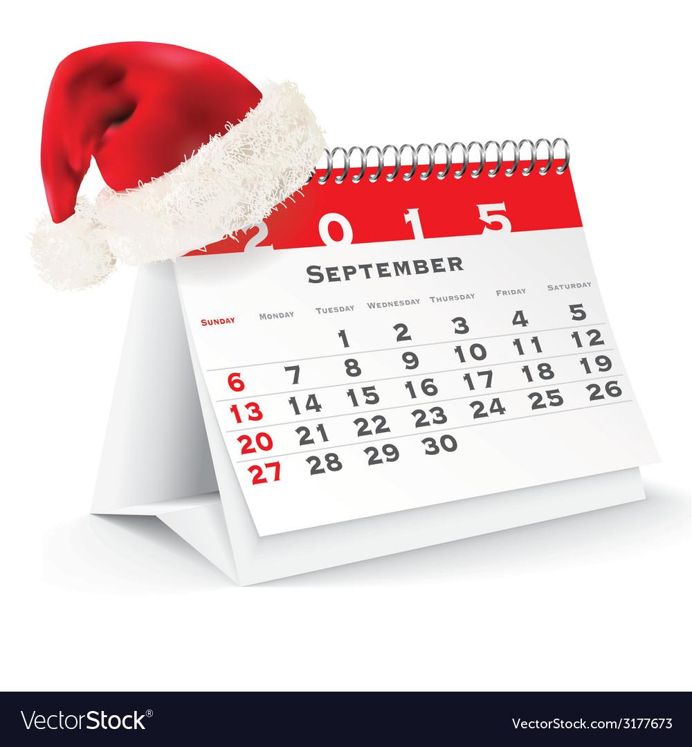 September 2015 desk calendar with christmas hat vector   Price: 1 Credit (USD $1)