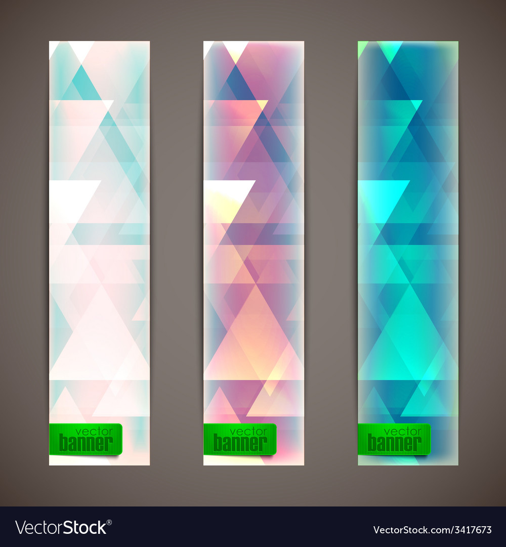 Set of faded banners with triangles vector | Price: 1 Credit (USD $1)
