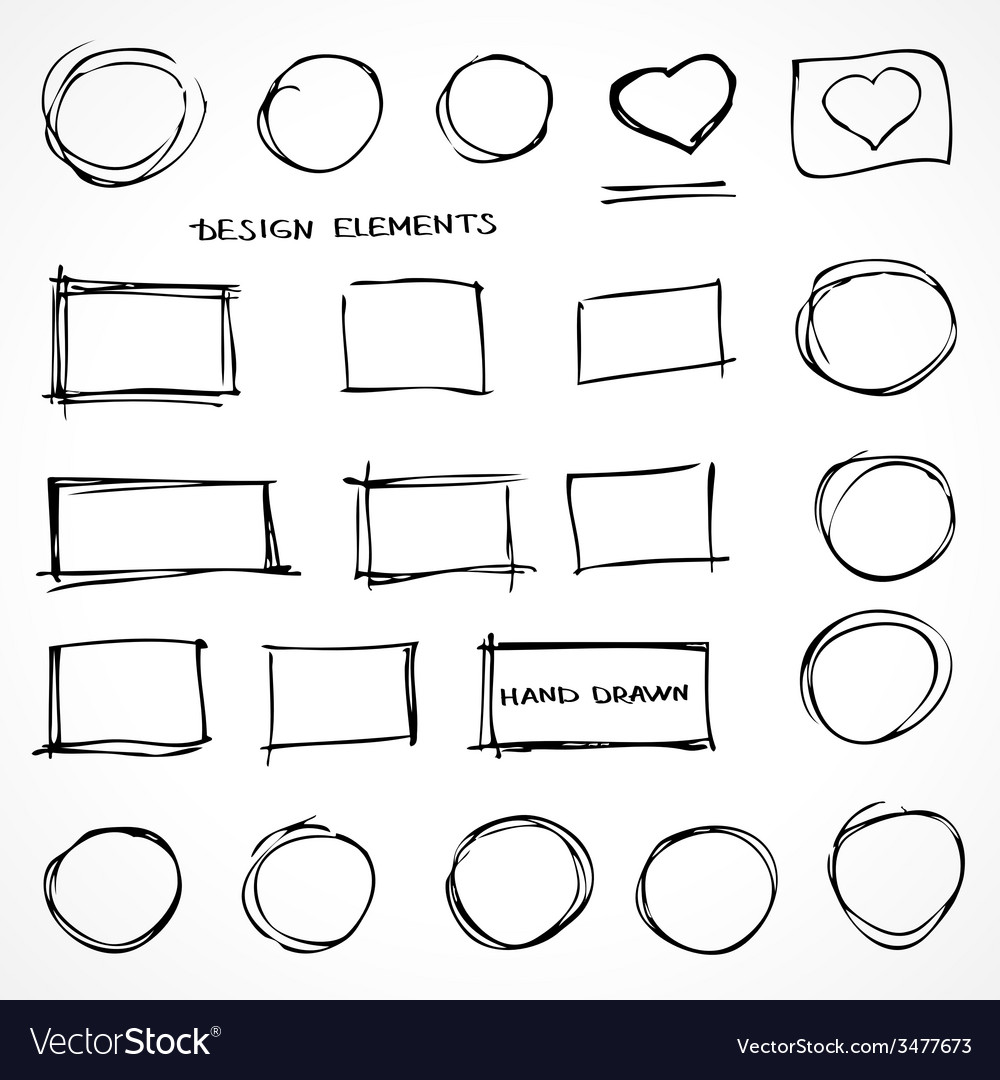 Set of hand drawn isolated scribble design vector | Price: 1 Credit (USD $1)