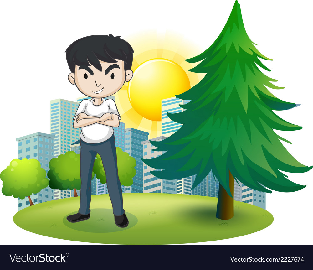 An angry man near the pine tree vector | Price: 1 Credit (USD $1)