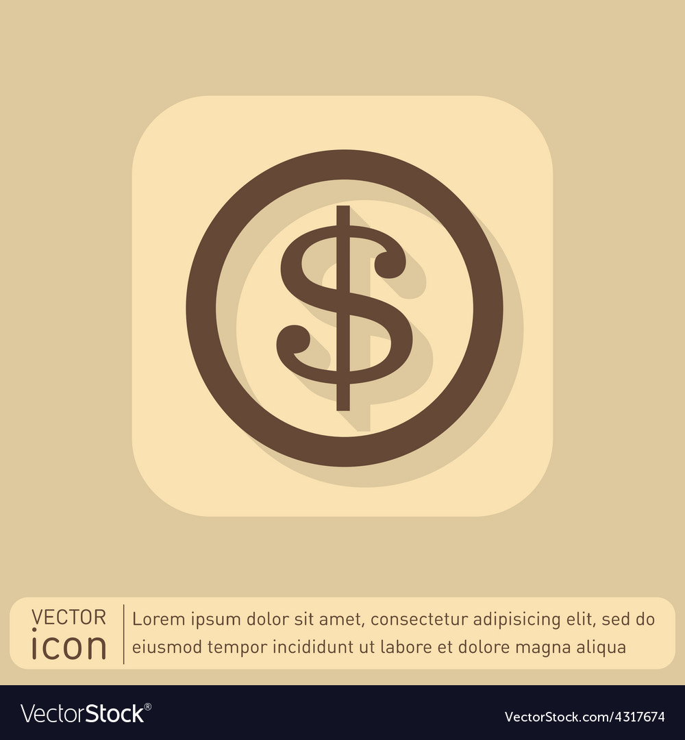 Dollar coin symbol of money vector | Price: 1 Credit (USD $1)