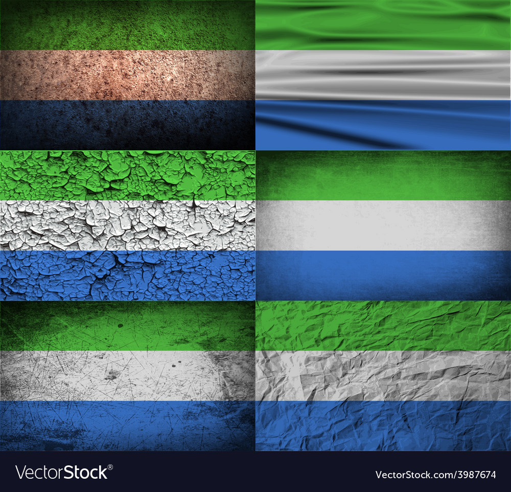 Flag of sierra leone with old texture vector | Price: 1 Credit (USD $1)