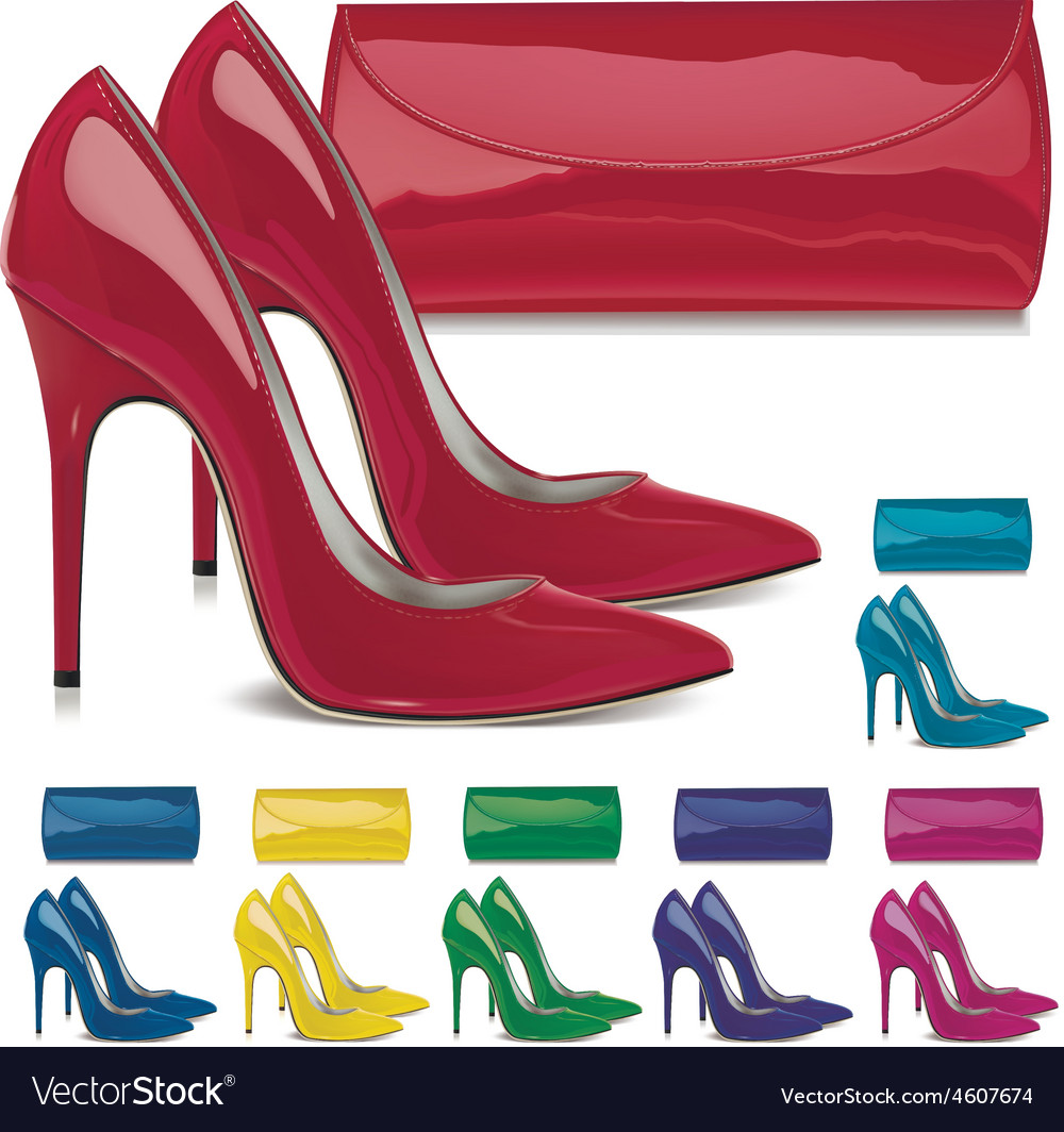 Pairs of female high-heeled shoes and mini bags vector | Price: 1 Credit (USD $1)