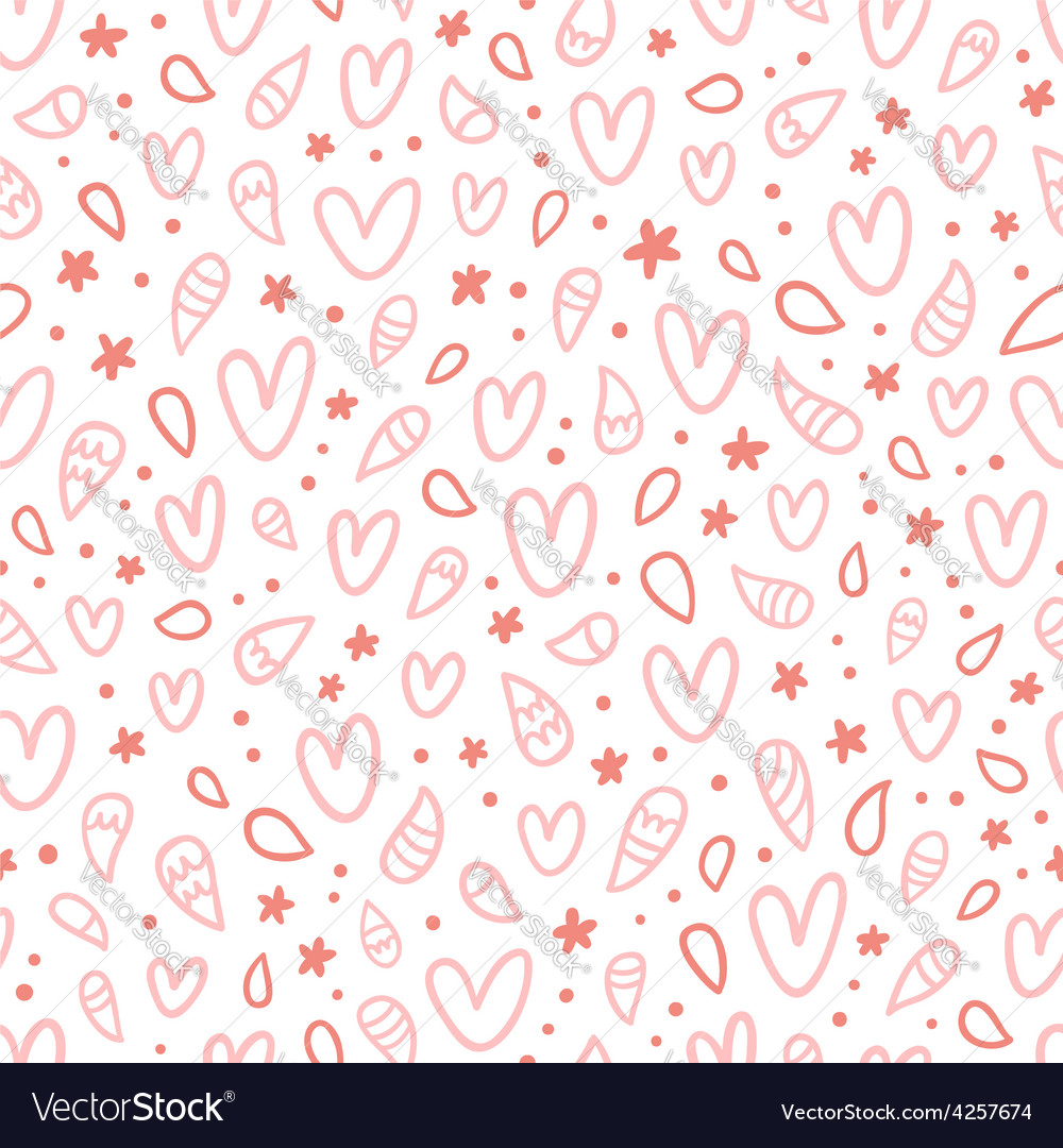 Pink doodle hearts seamless pattern vector | Price: 1 Credit (USD $1)