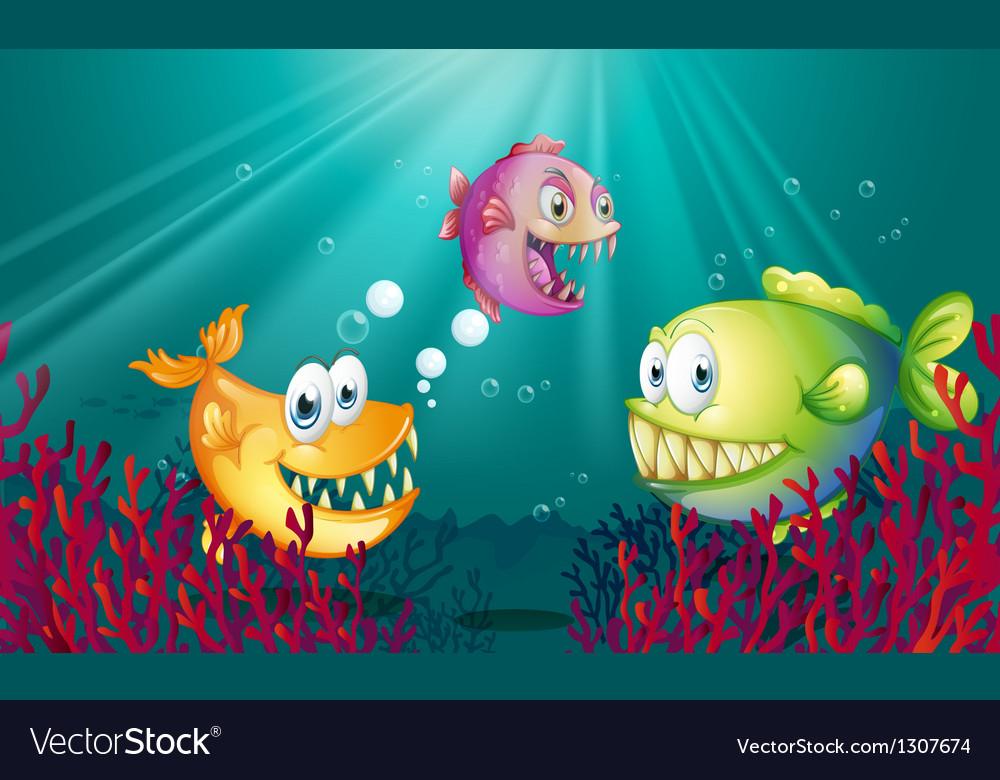 Piranhas under the sea with corals vector | Price: 1 Credit (USD $1)