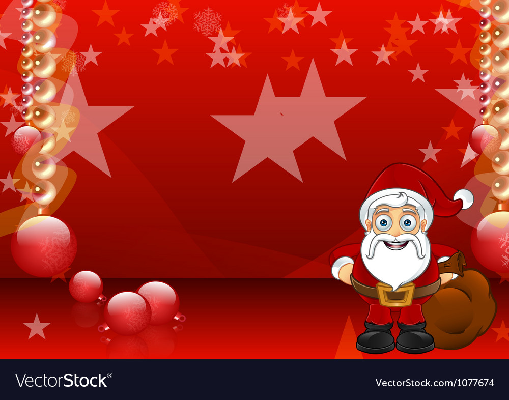 Red christmas background with santa vector