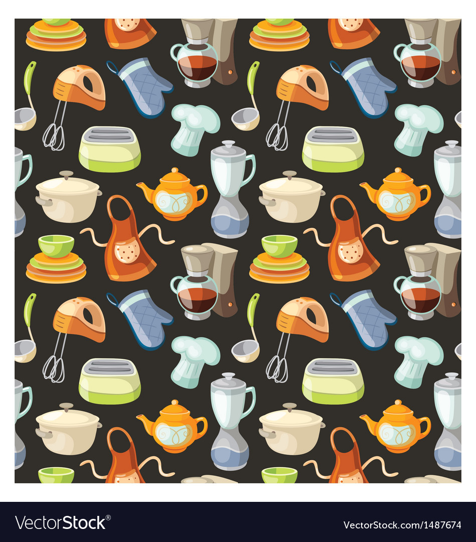 Seamless pattern with kitchen tools vector | Price: 3 Credit (USD $3)