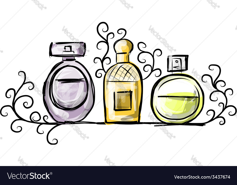 Sketch of perfume bottles for your design vector | Price: 1 Credit (USD $1)
