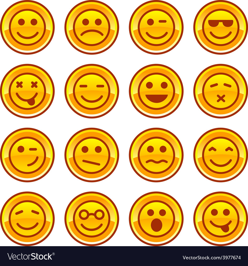 Smiley coins gold icons signs symbol set vector   Price: 1 Credit (USD $1)