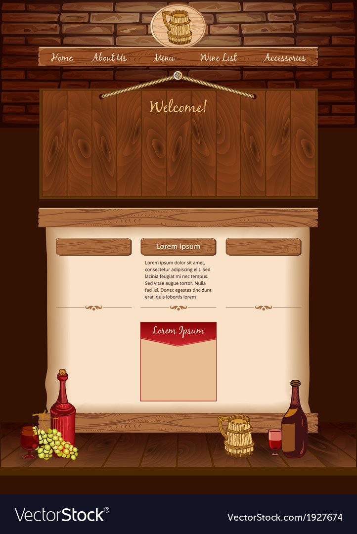 Web template for vintage cafe vector | Price: 1 Credit (USD $1)