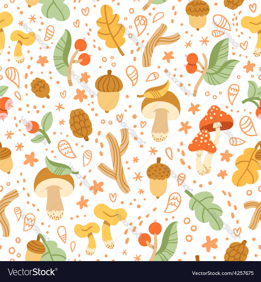 Colorful autumn treasures pattern vector | Price: 1 Credit (USD $1)