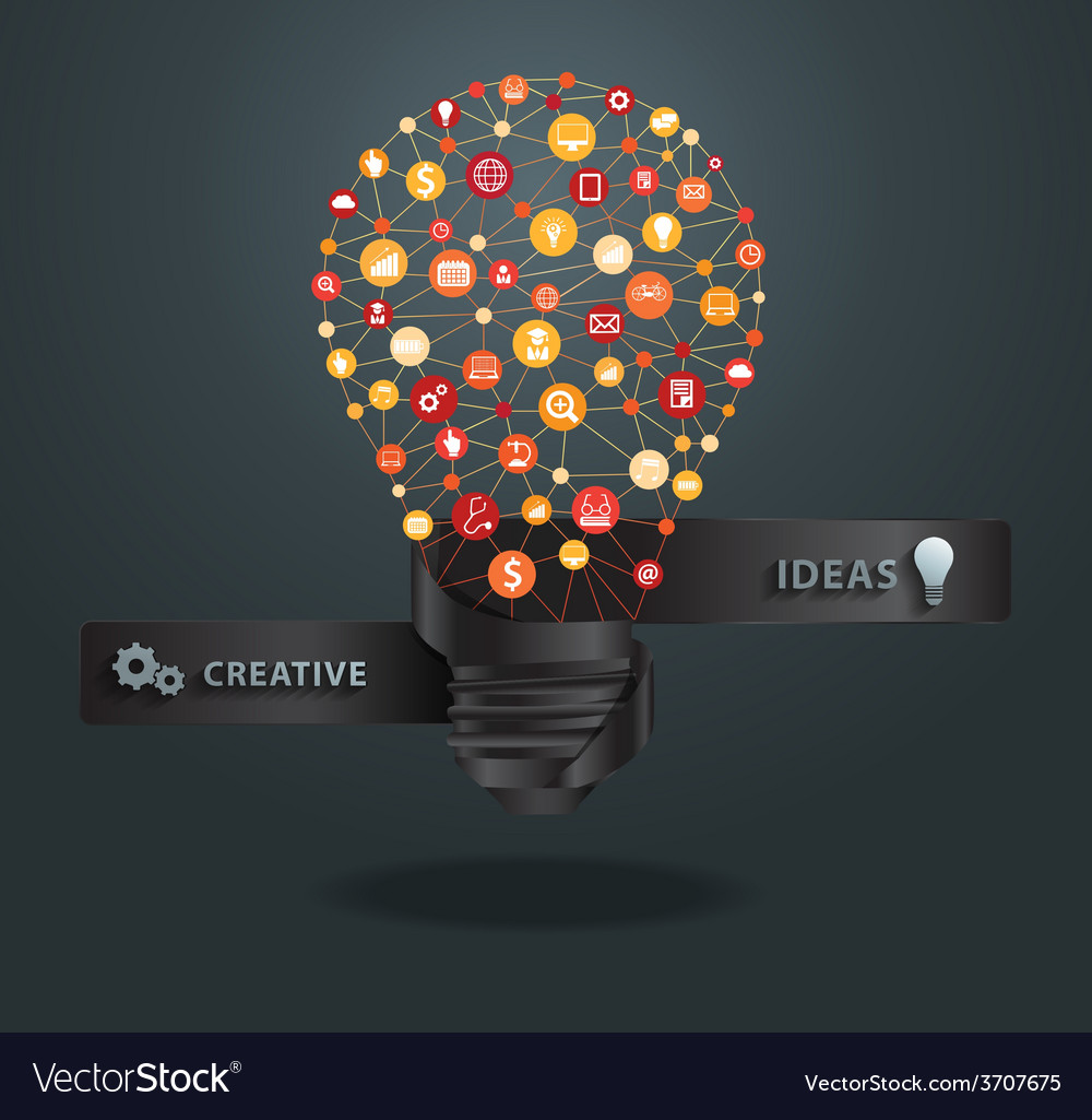 Creative light bulb idea vector