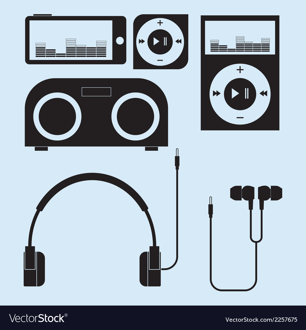 Headphones and portable speakers of different vector | Price: 1 Credit (USD $1)