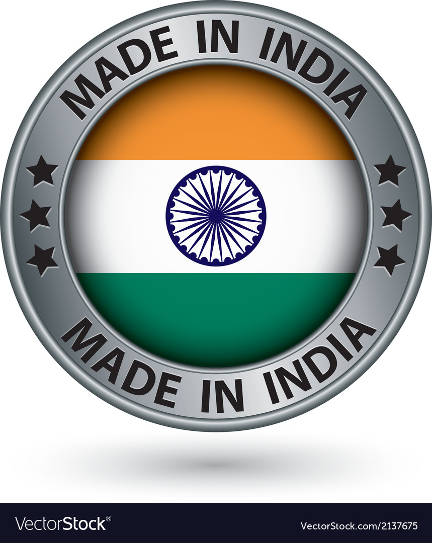 Made in india silver label with flag vector | Price: 1 Credit (USD $1)