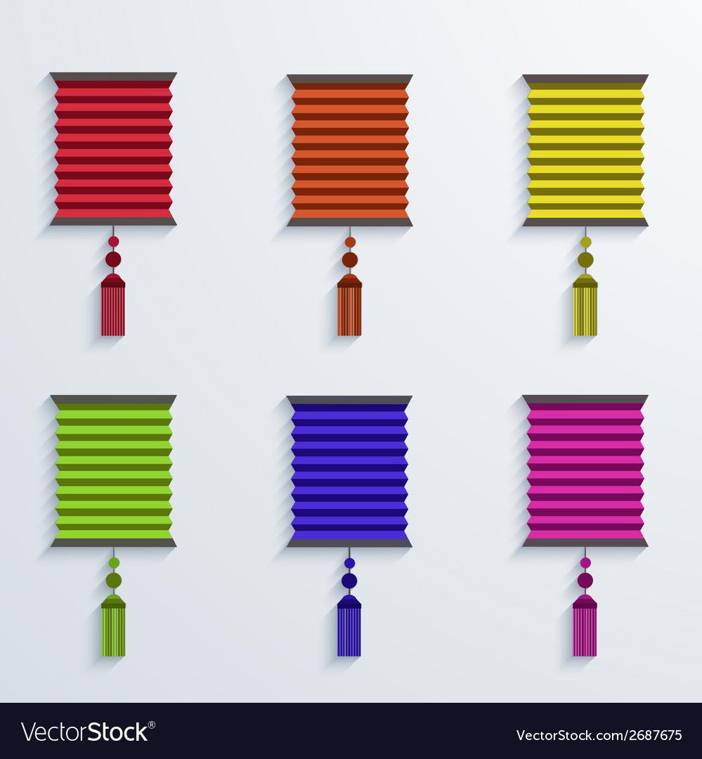 Modern chinese paper lantern set vector | Price: 1 Credit (USD $1)