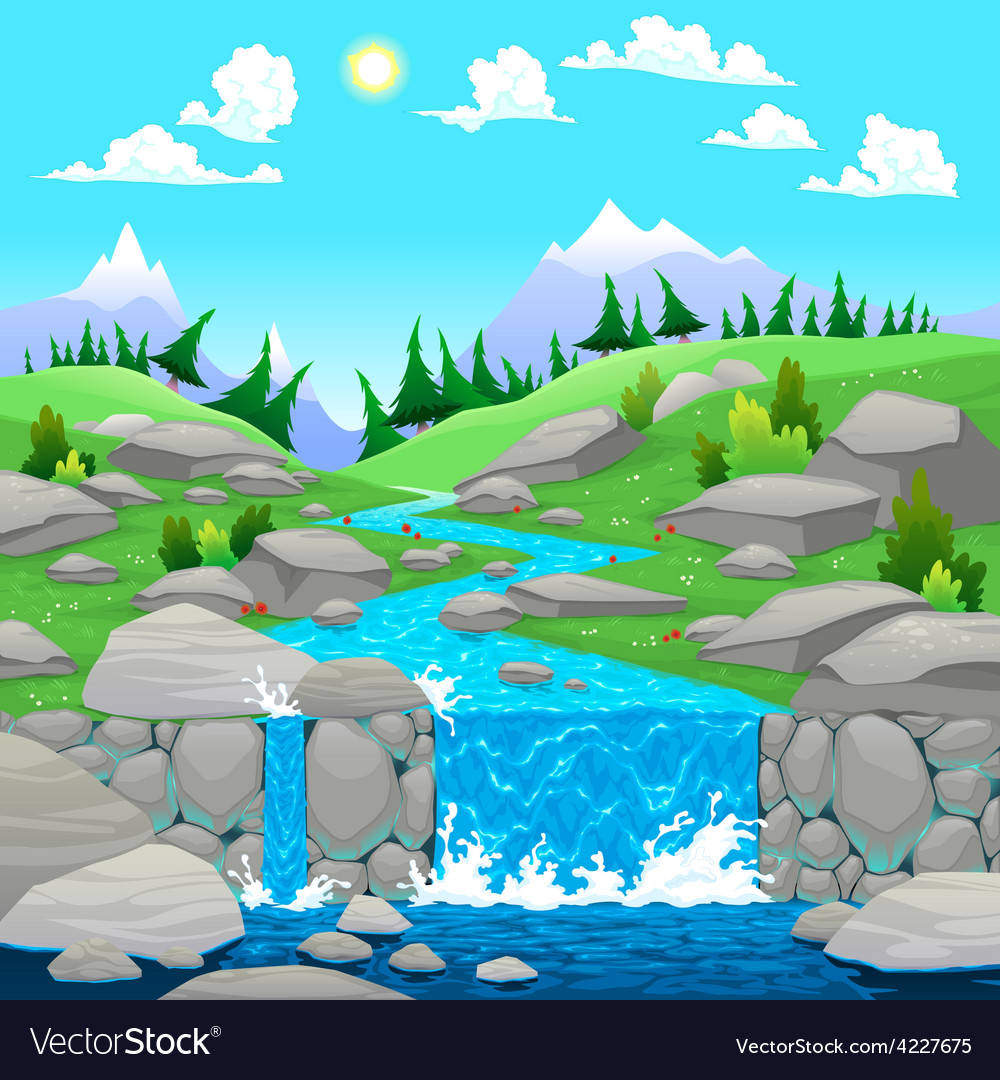 Mountain landscape with river vector | Price: 3 Credit (USD $3)